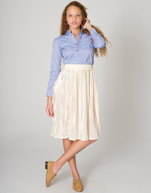 Button Down Blouse & Pleated Skirt  Both by American Apparel
