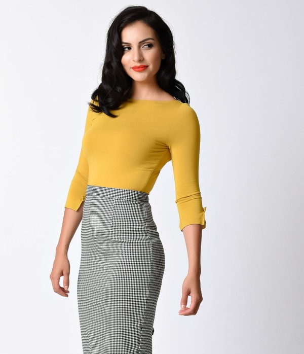 Banned_Retro_Yolk_Yellow_Three-Quarter_Bow_Sleeve_Knit_Modern_Love_Top_