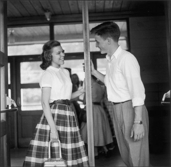 vintage couple flirting